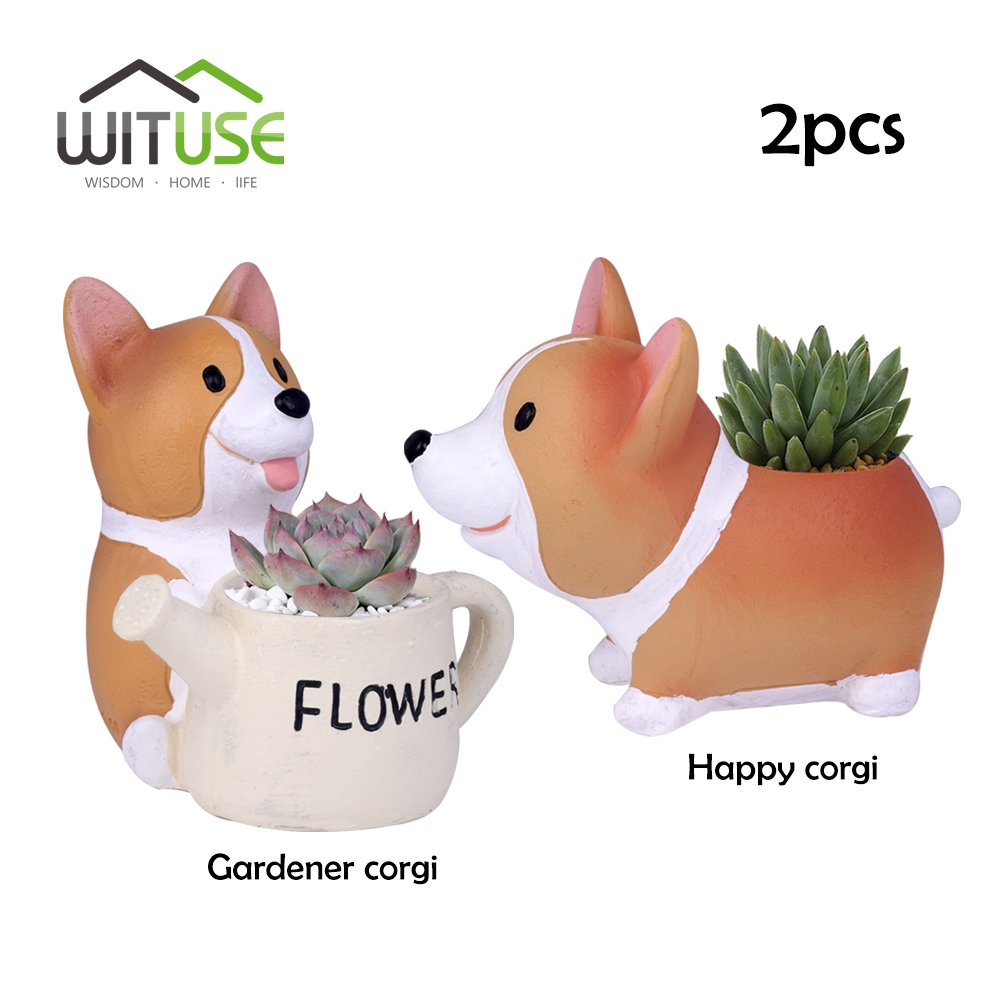 WITUSE 2pcs Creative Resin Planter Flowerpot Kawaii Corgi Garden Succulent Plants Jardin Bonsai Desk Flower Pot Drop Shipping