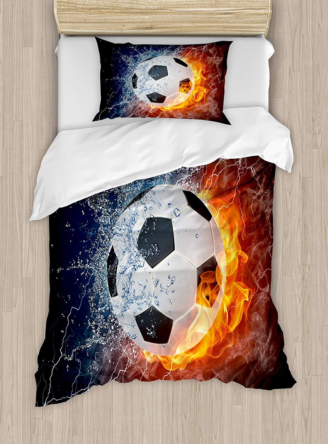 Sports Decor Duvet Cover Set Soccer Ball On Fire And Water