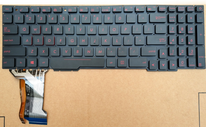 Nouveau pour Asus Rog ZX53V ZX53VD ZX53VE ZX53EW ordinateur portable us anglais rouge clavier rétro-éclairé