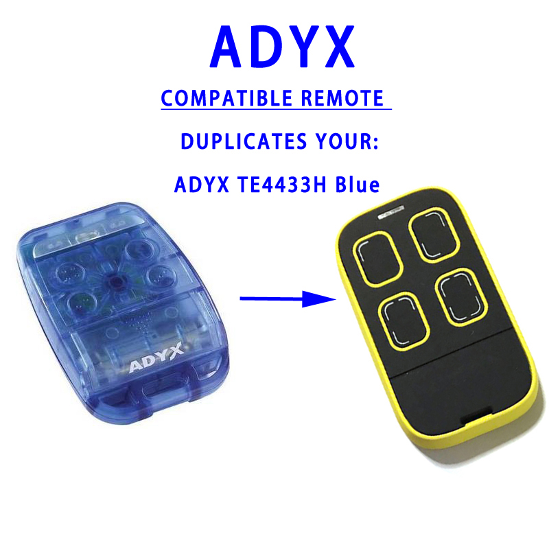 Replace ADYX TE4433H BLUE rolling code multi frequency remote control duplicator for door opener