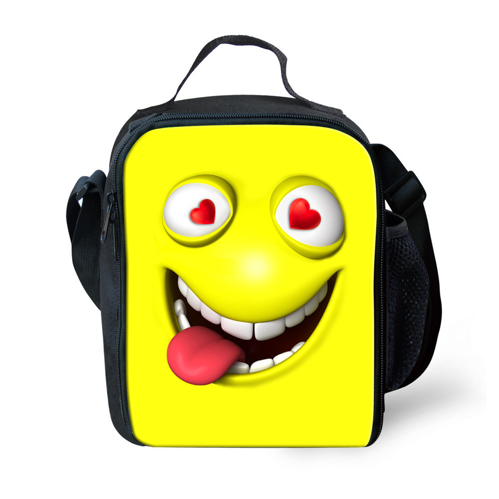 Gut Lustige Emoji Design Isolierte Mittagessen Tasche Kinder Lebensmittel Taschen Lunchbox Lancheira Escolar Infantil Picknick Wiederverwendbare Snack Kühltasche Duftendes (In) Aroma