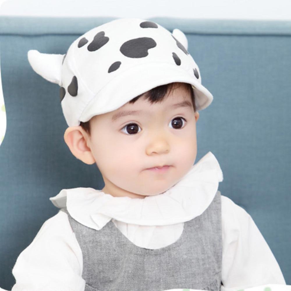 c9b206ccfcd Spring Baby Cap 3D Ox horn Cow Print Kids Children soft Cotton ...