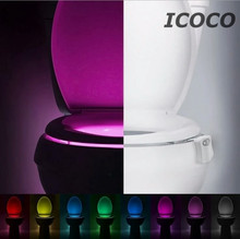 Creative Toilet Nightlight Home Toliet Bathroom Human Auto Motion Activated Sensor Seat Light Night Lamp with 8 Color Changes