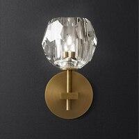 Modern Nordic Model Room Bedside LED Wall Lamp American Simple Designer Villa Hotel G9 Crystal Wall
