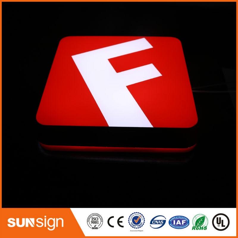 Front Lighted Up Acrylic Letter Sign Led Flat Light Up Letter For Shop LOGO