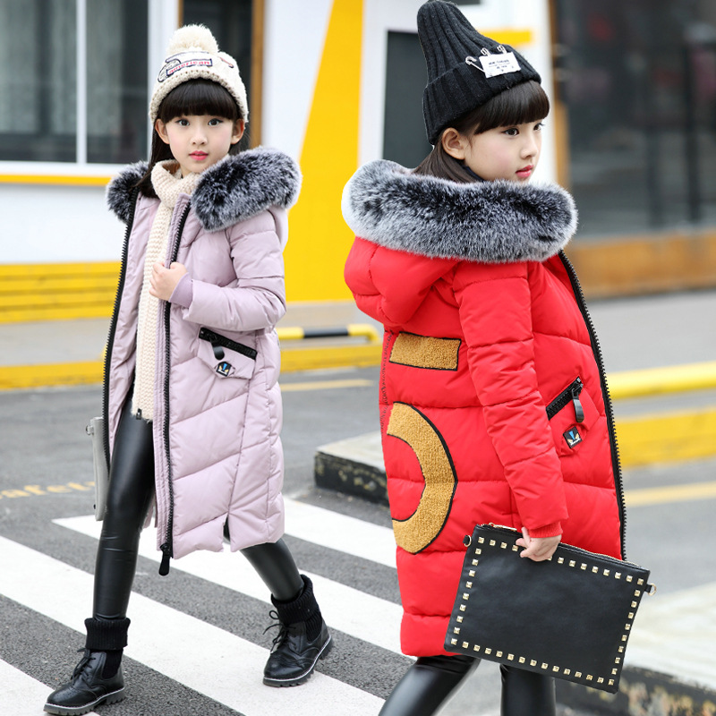 Children winter long jacket coat warm 2017 fashion thick cotton padded outerwear for 4 5 6 7 8 9 10 11 12 13 14 years girl kids russia 2016 children outerwear baby girl winter wadded jacket girl warm thickening parkas kids fashion cotton padded coat jacket