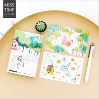 30Pcs Pack Natural Green Forest Season Plants Animals Diary Postcard Greeting Card Envelope Gift Birthday Card