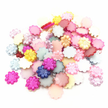 100Pcs Mixed Colorful Cameo Cabochon Decoration Flower Resin Flat Back Fashion Jewelry DIY Findings 13mm