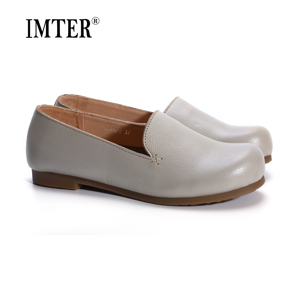 Woman Shoes Flat Genuine Leather Slip on Ballerina Flats Ladies Flat Shoes Spring/Autumn Female Footwear (1688-3) kuidfar women shoes woman flats genuine leather round toe slip on loafers ladies flat shoes skid proof spring autumn footwear