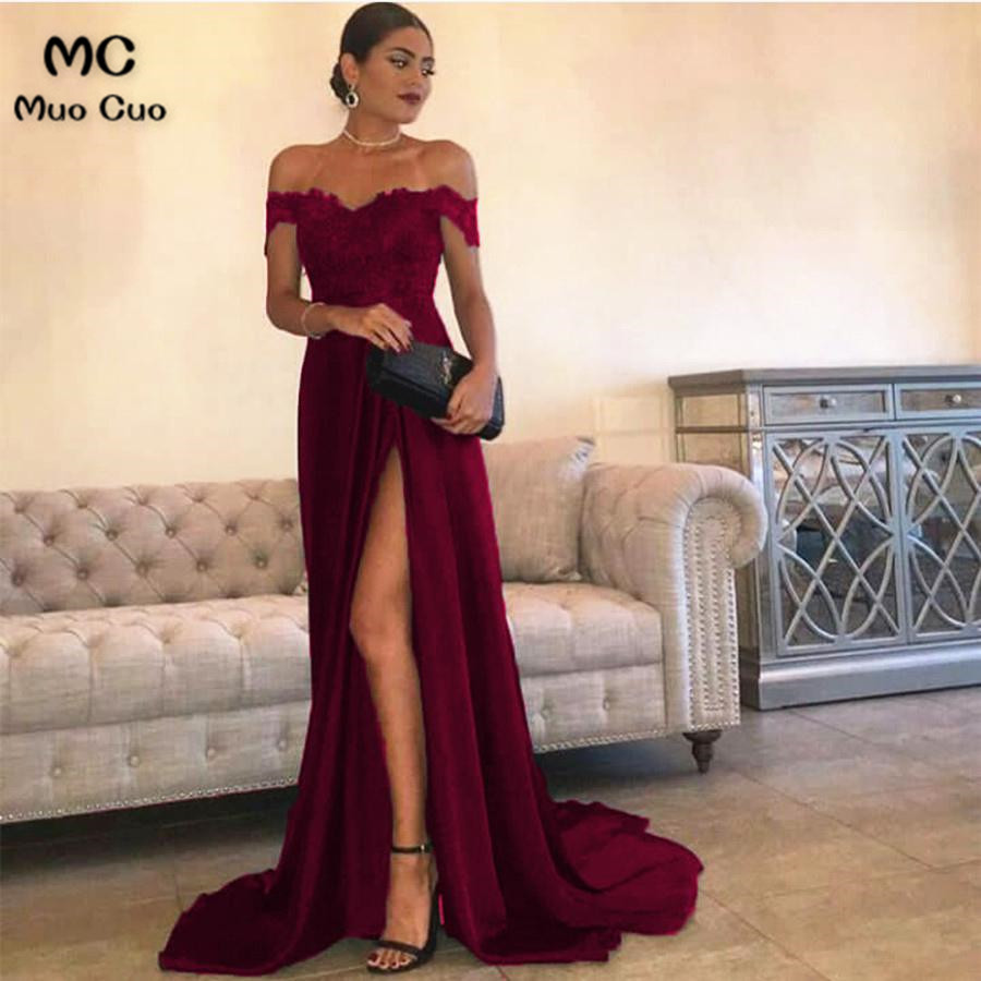 881944298865 2018 Burgundy Off Shoulder Evening Dresses Long Floor Length Front Split  Elastic Satin Formal Evening Party