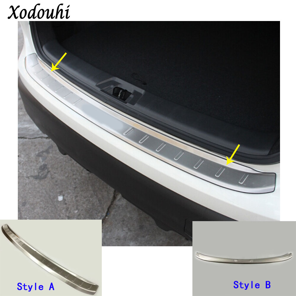Car cover Stainless Steel outside Rear back Bumper trim plate trunk frame threshold pedal For Nissan Qashqai 2016 2017