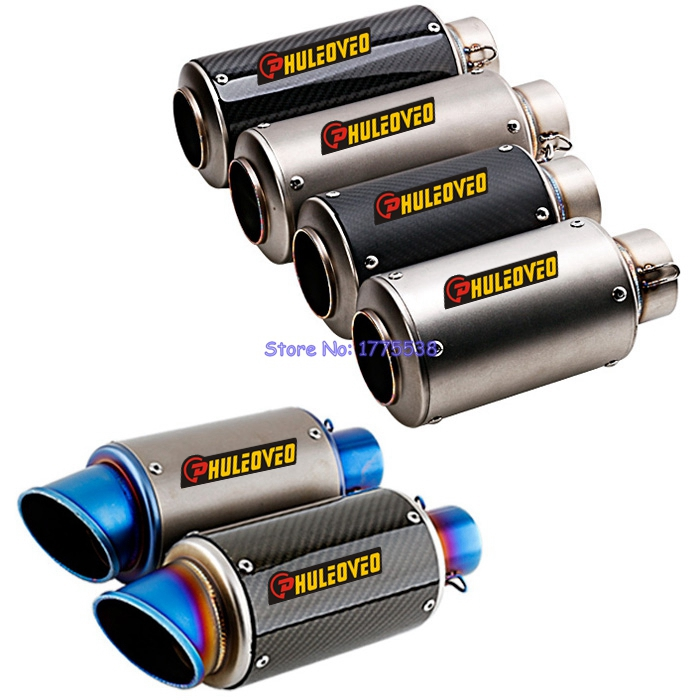 PHULEOVEO Inlet 51mm / 61mm Carbon Fiber Motorcycle Exhaust Muffler Tailpipe Escape Modified Motorbike Exhaust Pipe Mufflers
