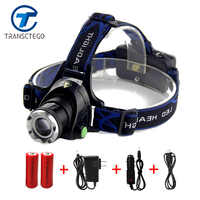 Led Head Lamp Headlight 18650 Battery Flashlight High Power T6 led Head Torch Headlamp 18650 lampe frontale For Fishing Light