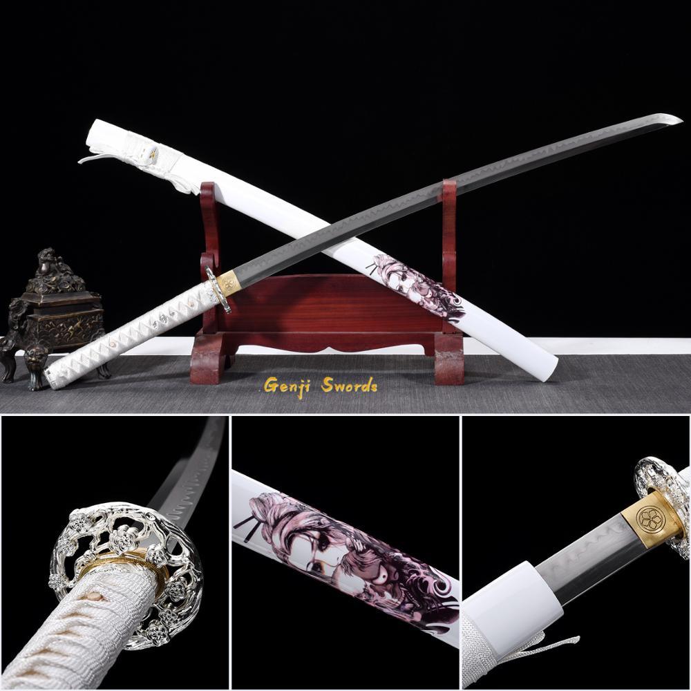 Katana T10 en acier fait main blanc beauté Katana T10 acier trempé véritable samouraï épée Katana tranchant