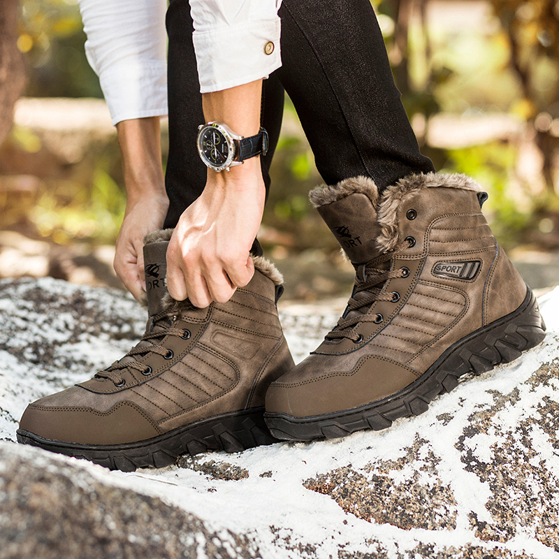 CNFIIA Men Snow Boots 2018 Winter Fur Warm Winter Boots Men Waterproof Brown Black Plus Size 45 46 47 48 Anti-Slip Brand Quality