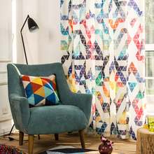 Fashion Geometric Printed Semi shading Cotton Linen Home Curtains for the Bedroom for Living