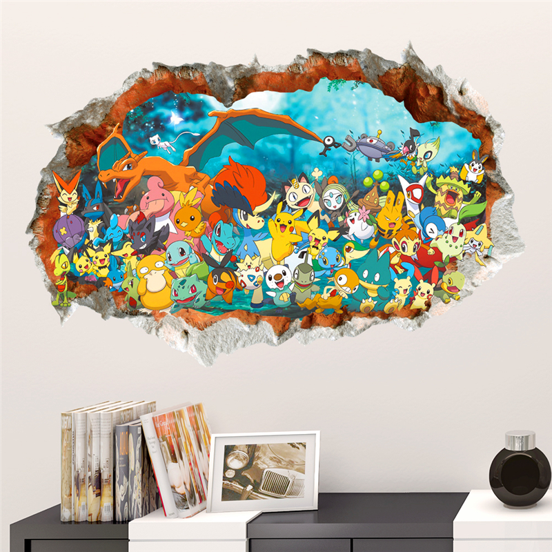 3d effect cartoon Red Pikachu pet elves through wall stickers for kids rooms diy wall art decals decor Pokemon Go game posters