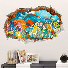 3d effect cartoon Red Pikachu pet elves through wall stickers for kids rooms diy art decals decor Pokemon Go game posters