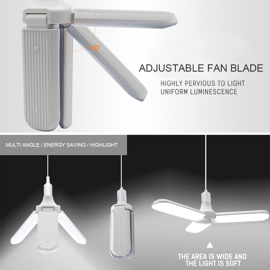45W E27 LED Bulb SMD2835 228leds Super Bright Foldable Fan Blade Angle Adjustable Ceiling Lamp Home Energy Saving Lights