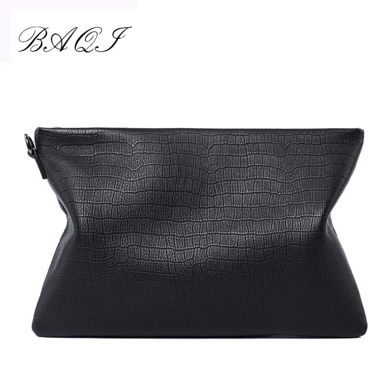 BAQI Brand Men Wallets Clutch Bag Handbags 2019 Fashion Genuine Cow Leather High Quality Ipad Phone Purse Casual New