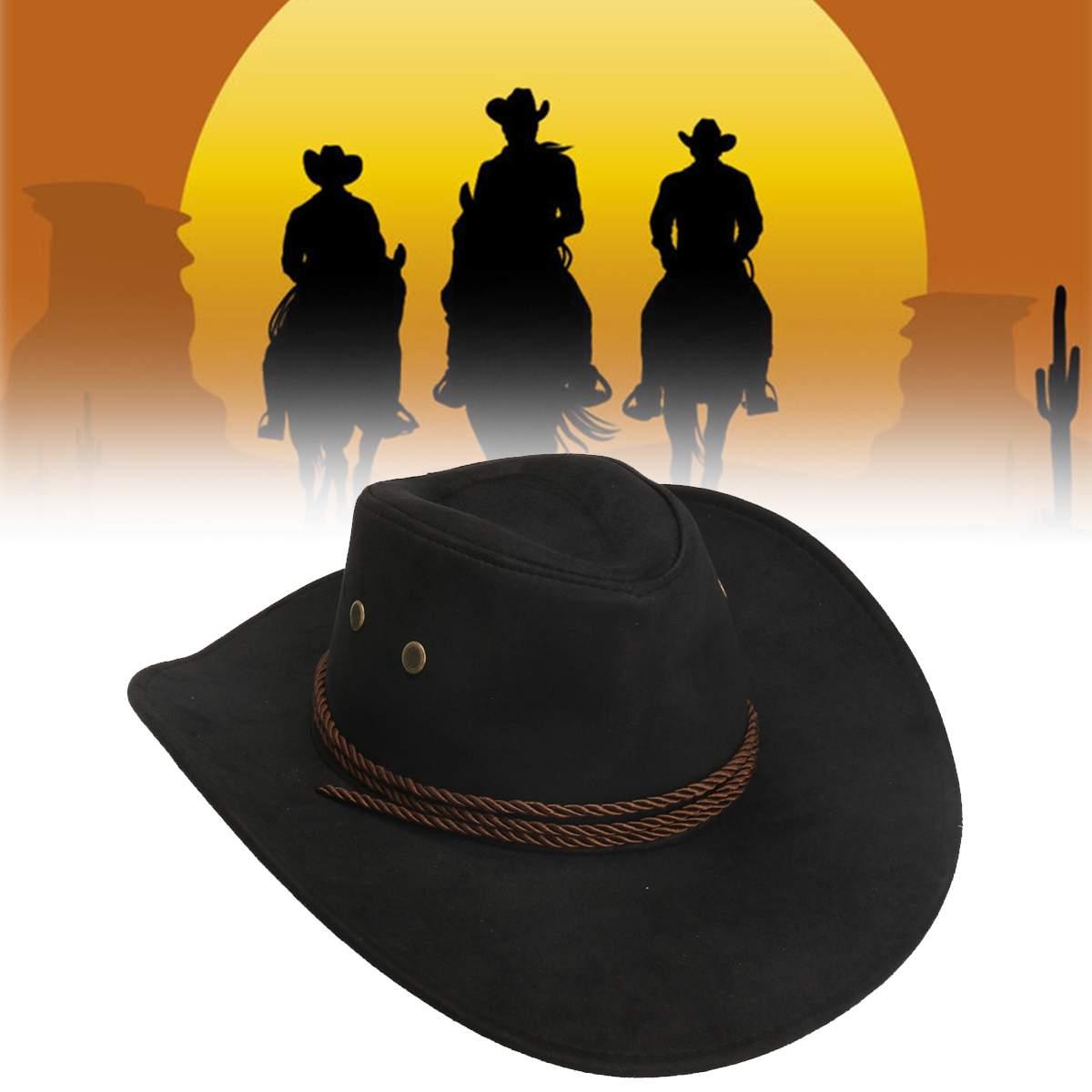 Men Women Artificial Leather Hat Western Cowboy Cap Hat Wide Brim Summer Hat