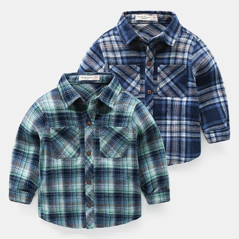 Mutter & Kinder Jungen Checker Langarm-shirt Frühling Und Herbst Neue Kidsshirt Top Trendy U7266 Einen Einzigartigen Nationalen Stil Haben Shirts