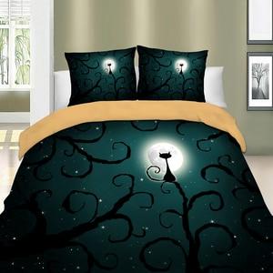 Image 3 - משפחת וונג מצעים 3d חתול ירח לילה סט מצעי פוליאסטר שמיכה כיסוי מיטת סט תאום מלכת מלך גודל בית טקסטיל