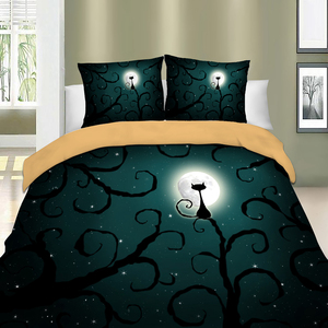Image 3 - Wongs Bedding 3d Cat moon night Bedding set polyester Duvet Cover Bed Set Twin queen king size home textile
