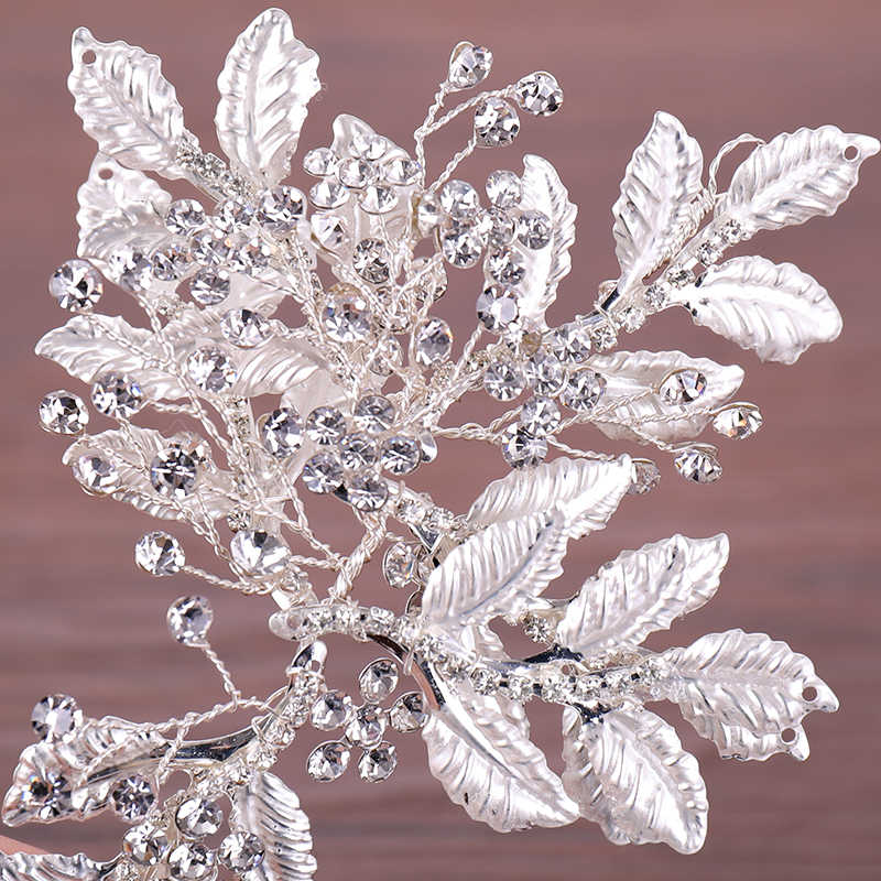 Wedding Hair Band Accessories Rhinestone Headband For Bridal Exquisite Silver Leaf Rhinestone Hairband Bride's Tiaras Jewellry