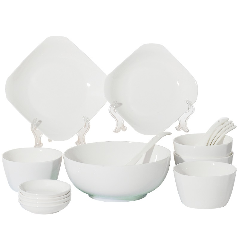 guci white bowl set home special 4 people fresh ceramic tableware set square bowl japanese simple - White Dinnerware Sets