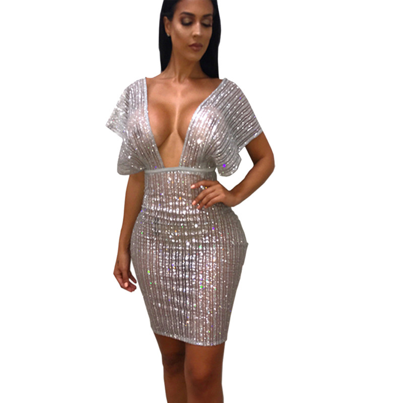 Sexy Sheer Silver Glitter Sequin Party Dresses Women Night Club Going Out  Shiny Dress See Through Mesh Sparkly Bodycon Dress d4a201c1a