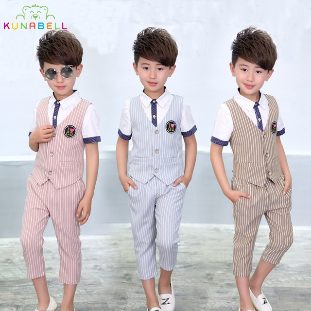Baby Boys Formal Suit Birthday Party Ceremony Dress Clothes Sets Shirt Vest Pants Kids Children Wedding