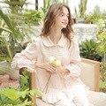 O Envio gratuito de Pijama Define Pijama de Algodão Puro Princesa Do Vintage Feminino Outono Longo-Sleeved Pijama Sleepwear Doce Laço s16011