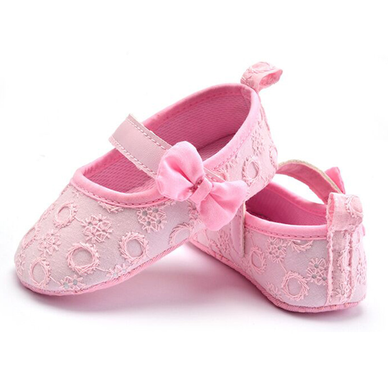 Soft Cloth Flower Crib Shoe Toddler Girls Shoes First Step Walker For Baby Newborn Shoe Size 3/4/5 Pink Red Black Soft Sole Shoe