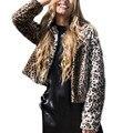 Sexy Long Sleeve winter fur Overcoat Lady Leopard pattern faux coat Faux fur collar short section Female overcoat plus size