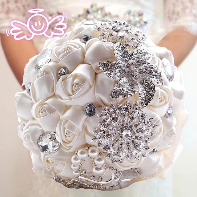 Bling Bling Crystal Бисером Свадебные Цветы Букет Невесты Невесты Свадебное Брошь Букет 2016 Новый Buque Де Noiva