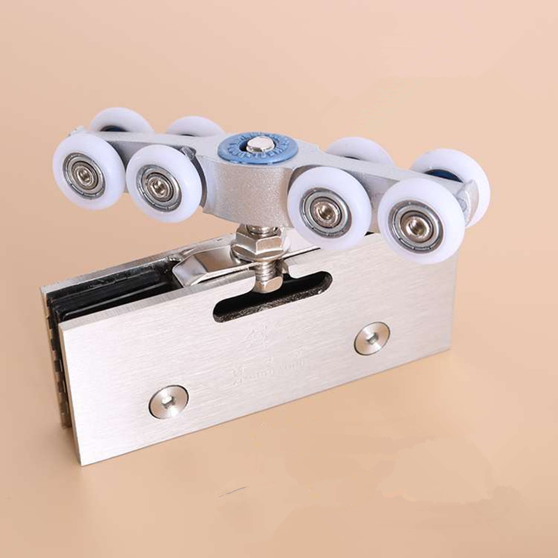 1set! Heavy duty Slide Doors pulley steel shower door roller runner wheel double bearings hanging rail with 8 wheels Hardware