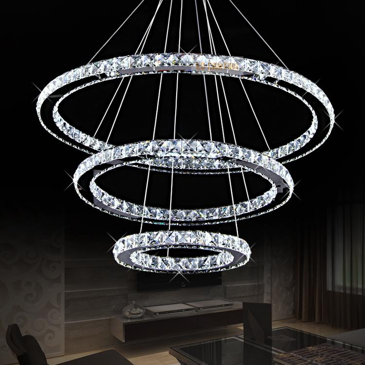 Modern Ring Crystal Contemporary Chandelier Re Cristal K9 High Ceiling Chandeliers Led Pendant Lamp Kroonluchters Bedroom