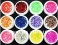 BEMLP 12 Pcs Mix Color Glitter Hexagon Sheet Nail Art UV Builder Gel for False Tip Set