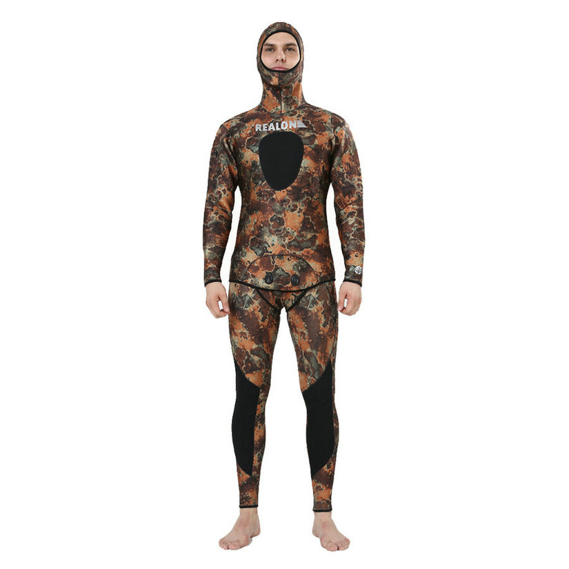 REALON Spearfishing Surf Wetsuit 3mm Free Diving Wet suit Neoprene Camo Scuba Mens and Women Top Swimsuit Swimwear spearfishing wetsuit 3mm neoprene scuba diving suit snorkeling suit triathlon waterproof keep warm anti uv fishing surf wetsuits