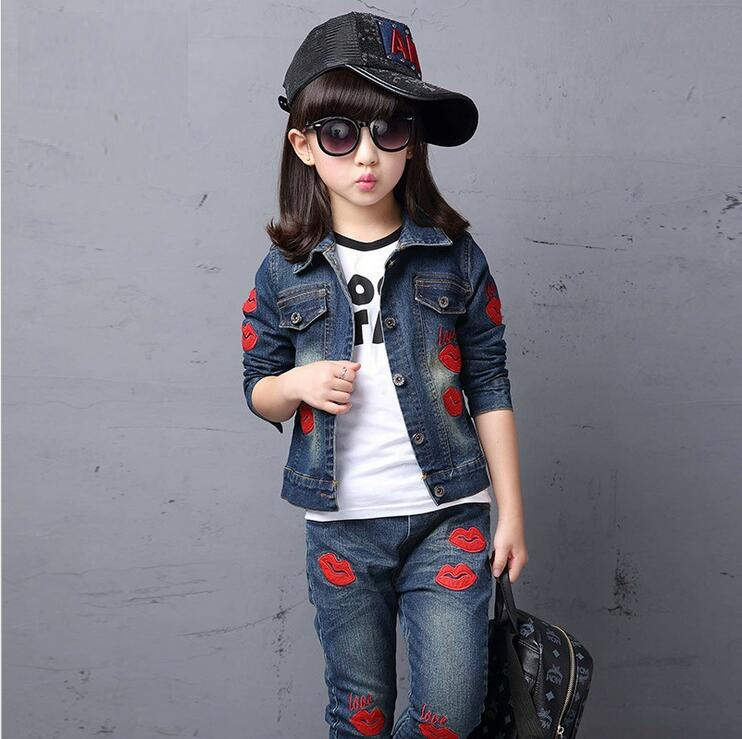 Boutique Fall Children Clothing Sets Fashion England Ropa De Ninas Print Kids Tracksuit Pants Denim Sport Suit Girls Outfits все цены