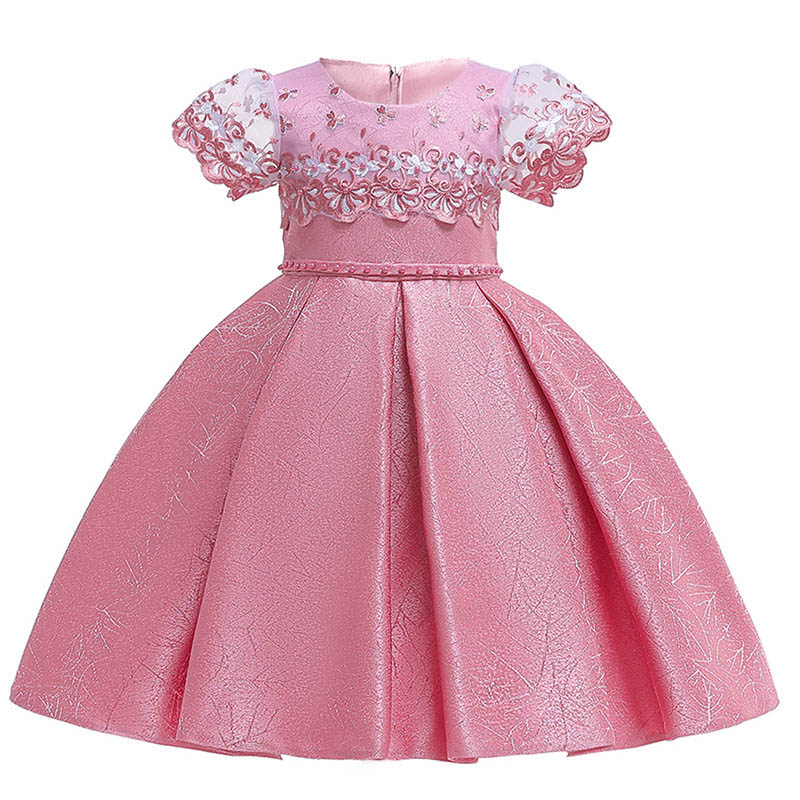 Short sleeve children clothing mesh embroidery   flower     girl     dresses   elegant clothes first communion princess baby tutu costume