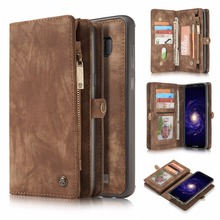Cseme Split Leather Zipper Bag Multi-function Slot Wallet Phone Case Cover for Galaxy S8 S8 Plus Magnet Removable Back Cover(China)