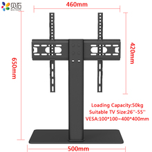 "Universal Table TV Stand for 32 65"" LCD LED Screen Height Adjustable Monitor Desk Bracket with Tempered Glass Base VESA400x400mm"