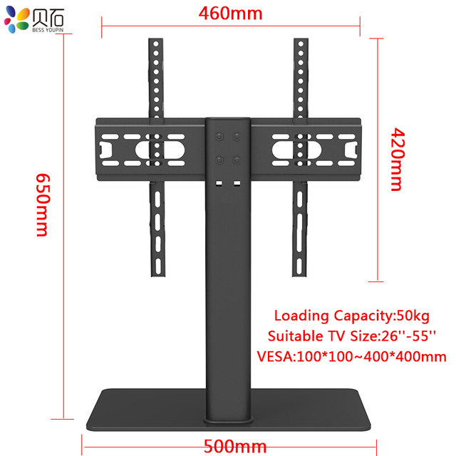 """Universal Table TV Stand for 32 65"""" LCD LED Screen Height Adjustable Monitor Desk Bracket with Tempered Glass Base VESA400x400mm"""