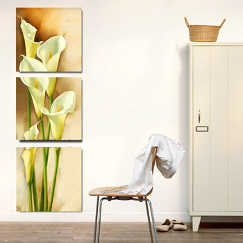 3 sztuk martwa natura na płótnie malarstwo Calla kwiat lilii pionowe formy na płótnie zdjęcia ścienny obraz do salonu