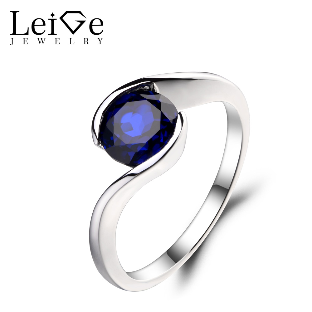 Leige Jewelry 1 66ct Sapphire Solid 925 Sterling Silver Ring Gemstone Birthstone Round Cut Promise Engagement