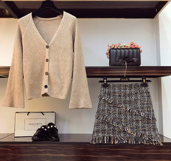 2019 Autumn Winter Womans V-necked Cardigan Knitted Coat + High-waisted Tweed Skirt Two Piece Girl Ladies Skirts Set Outfits 1