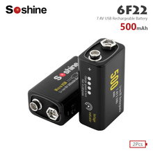 Soshine 2Pcs 9V 500mAh lithium ion battery 6F22 Micro USB rechargeable battery detector toy rechargeable battery For Smoke Alarm стоимость