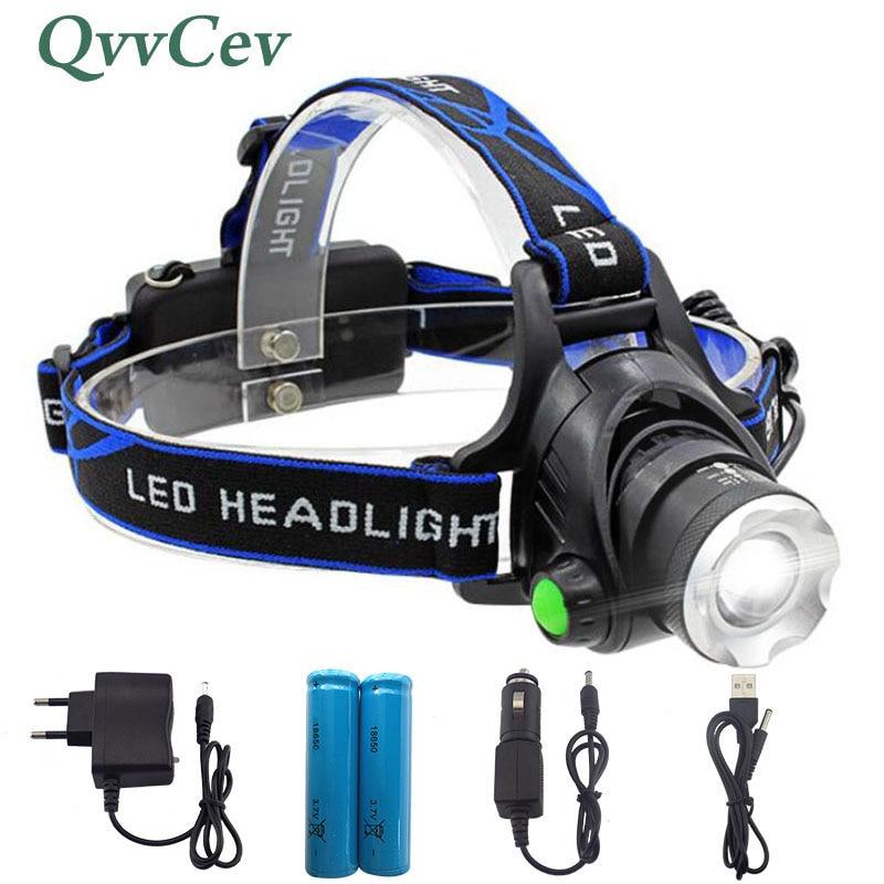 Led Projecteur XM-L L2 2500LM Phare T6 2000LM projecteurs XM-L Q5 Tête Lampe Torche Lanterne lampe de Poche Tête + 18650 Batterie
